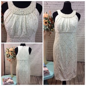 NWT! Cachet Lace Nude cocktail dress